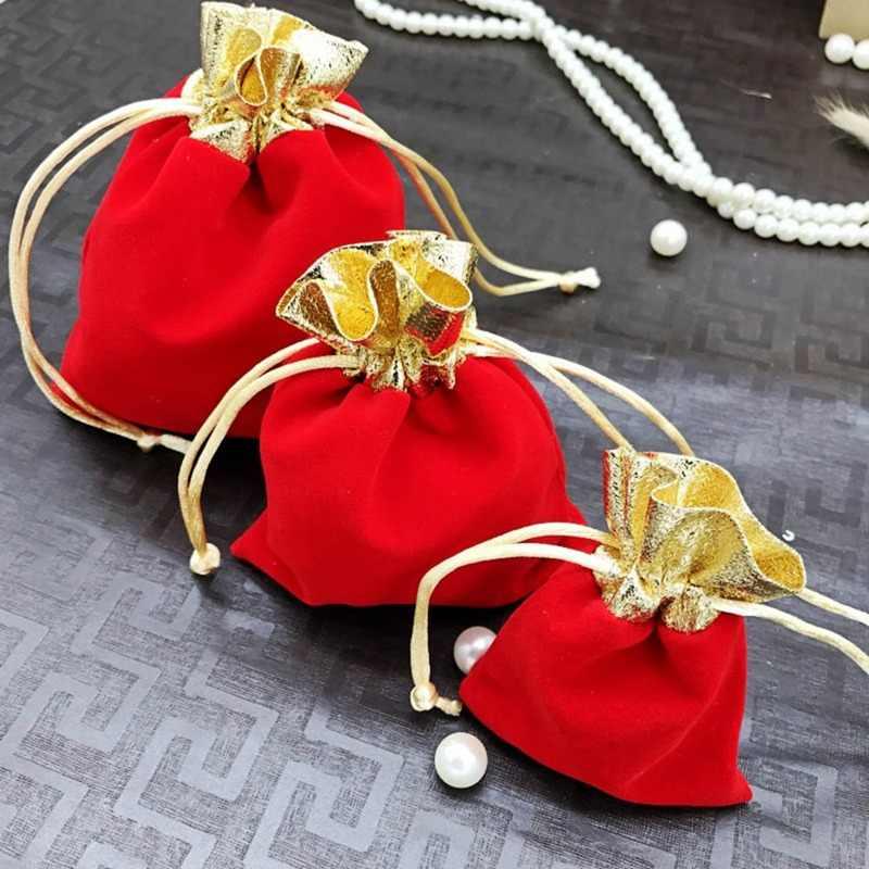 Sacos de veludo Com Cordão de Casamento Malotes Da Jóia De Presente de Natal Caixas De Saco Macio Saco Pequeno Presente Para Favores Do Casamento