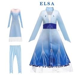 Frozen 2 Queen Elsa Dresses Girls Party Vestidos Fantasia Kids Girls Clothing Set Elsa Elza Costumes Princess Anna Dress 4 6 12Y