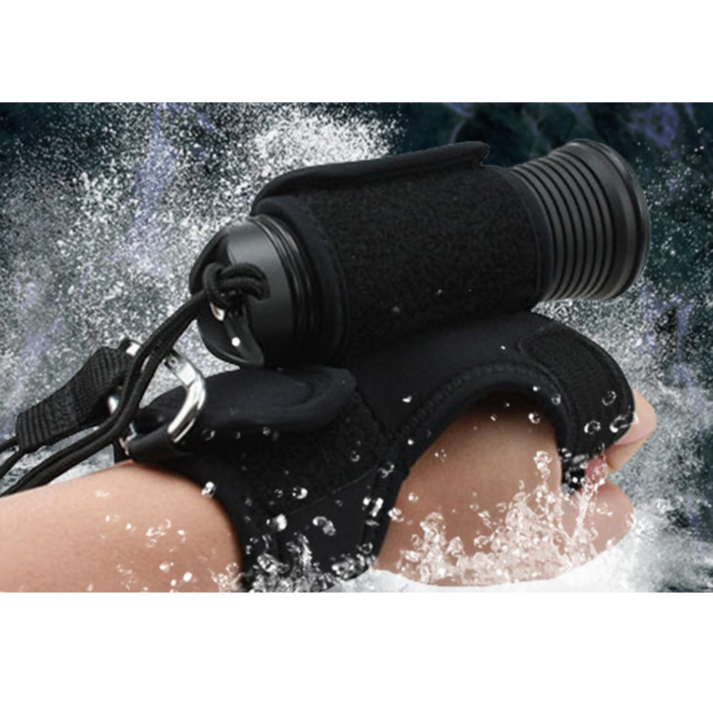 Scuba Diving Dive Underwater Torch LED Flashlight Hand Free Holder Glove Holster Hand Mount