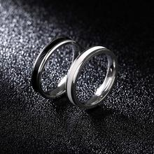 Classic Black White Rings Cubic Wedding Engagement Ring Ceramic Titanium Steel Lovers Simple Finger Rings for Women/men(China)
