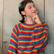 Womens Sweaters Kawaii Ulzzang College Candy Color Stripes Fashion Sweater Female Harajuku Clothing For Women