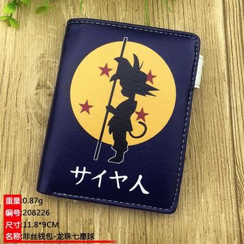 DragonBall Short Wallet Anime Son Goku Button Zipper Coin Purse Kakarotto Card Holder Money Bag image
