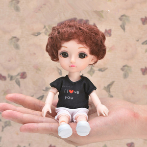 New Arrival Brown Eyes 16cm Dolls 13 Movable Jointed BJD Toys Mini Cute Curly Boy Doll Dress Up Play House Toy for Girls Gift