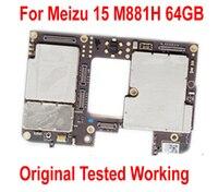 Original desbloquear trabalho mainboard painel eletrônico para meizu 15 m881q m881h 4 gb 64 gb placa-mãe taxa de cartão circuitos cabo flexível