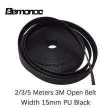 Bemonoc 2/3/5 Meters HTD 3M Open timing belt Width 15mm Polyurethane Steel PU 3M-15mm HTD3M Synchronous Belt Laser Black Color