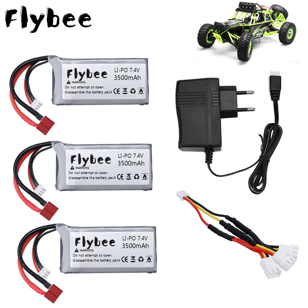 Upgrade 7.4V 7000mah 3500mah*2PCS <font><b>Lipo</b></font> Battery for Wltoys 12428 12423 RC Car Spare Parts 7.4V <font><b>2S</b></font> 3500mah battery T Plug image