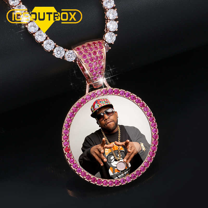 Custom Photo Memory Medallions Solid Pendant Necklace Purple Pink AAA Cubic Zircon Round Pendant Tennis Chain Hip Hop Jewelry