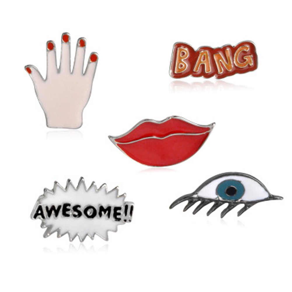 Bang Mengagumkan Seksi Merah Bibir Mata Tangan Lucu Enamel Pin Set Bros Set Kerah Pin Set untuk Jeans Topi Lencana