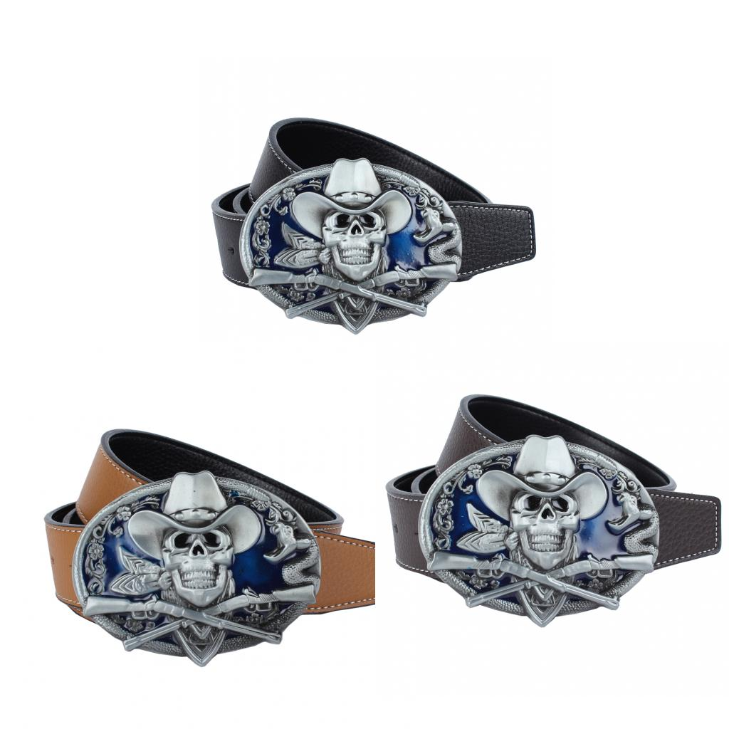 Oval Snake Skull Buckle Long PU Leather Belt 125cm Length For Men Casual Formal Clothing