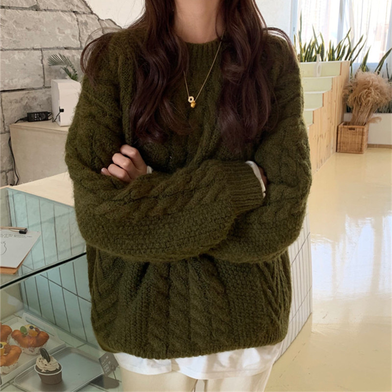 Hzirip Winter O-neck Women's Sweater Jersey Woman Knitted Twisted Thick Warm Lady's Pullover 2019 New Vintage Jumper Women Tops