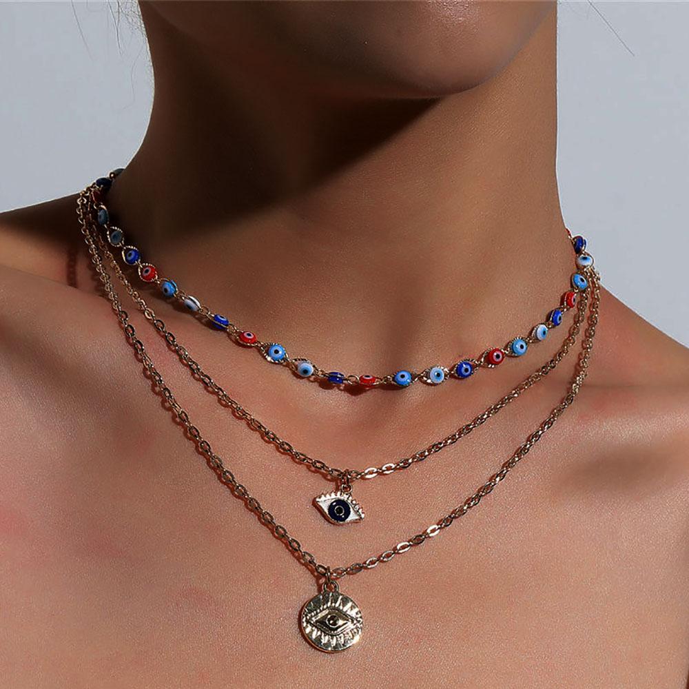 Moda turca occhi diabolici collane multistrato per le donne bohemien Vintage diavolo collane con ciondolo perline girocollo gioielli per feste nuovo 2