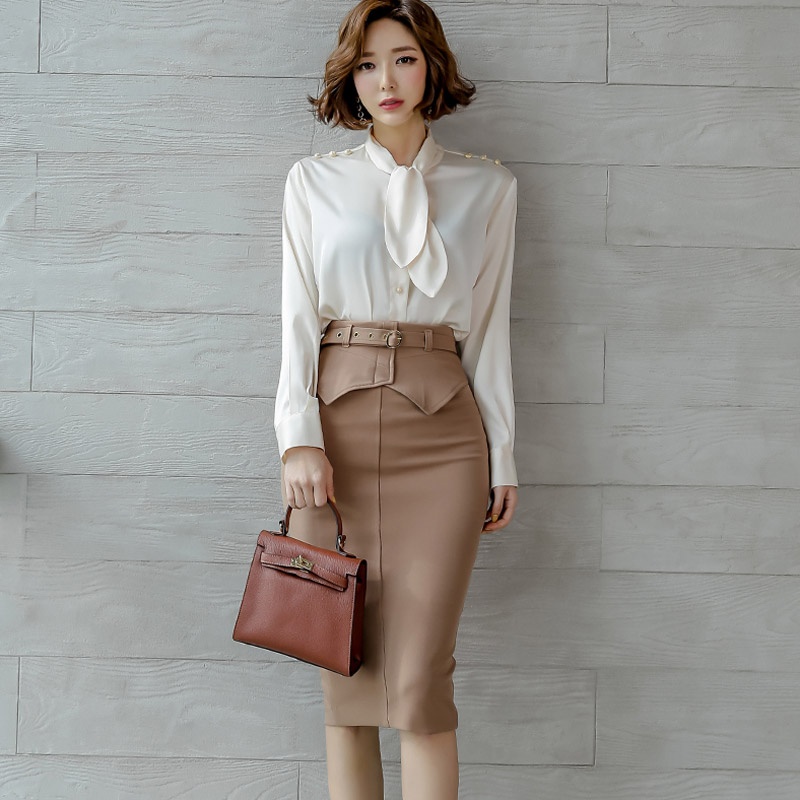 Woman Sets Two Pieces Office Lady Shion Spring Autumn Top Shirt Bodycon Pencil Skirt Knee-Length Eleagnt Slim Suit Sets