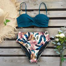 2019 Sexy Bandeau Bikini kobiety strój kąpielowy brazylijski Bikini zestaw strój kąpielowy na plaży strój kąpielowy Push Up stroje kąpielowe gorąca Biquini strój kąpielowy tanie tanio sporlike Drukuj Floral Stałe Wysokiej talii Bikini set Fiszbiny CU19326G1 WOMEN Pasuje prawda na wymiar weź swój normalny rozmiar