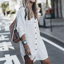 Женская Длинная свободная блузка Повседневная пляжная рубашка