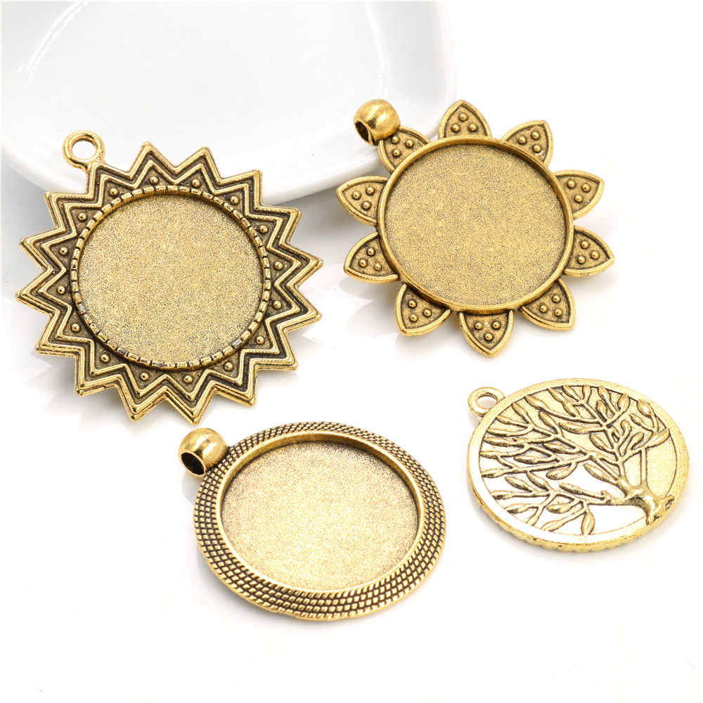 New Fashion  3pcs 25mm Inner Size Antique Gold Color Plated 4 Fashion Style Cabochon Base Setting Charms Pendant