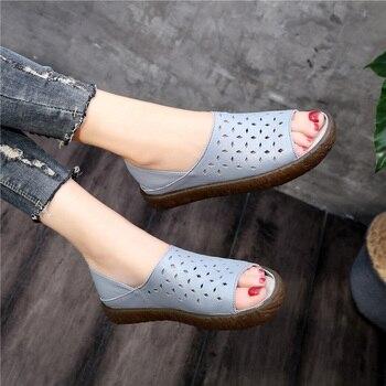 SWQZVT Sandals Women 2020 Summer New Casual Flat Heel Comfortable Breathable Peep Toe Female Sandals Women Mocasines Mujer