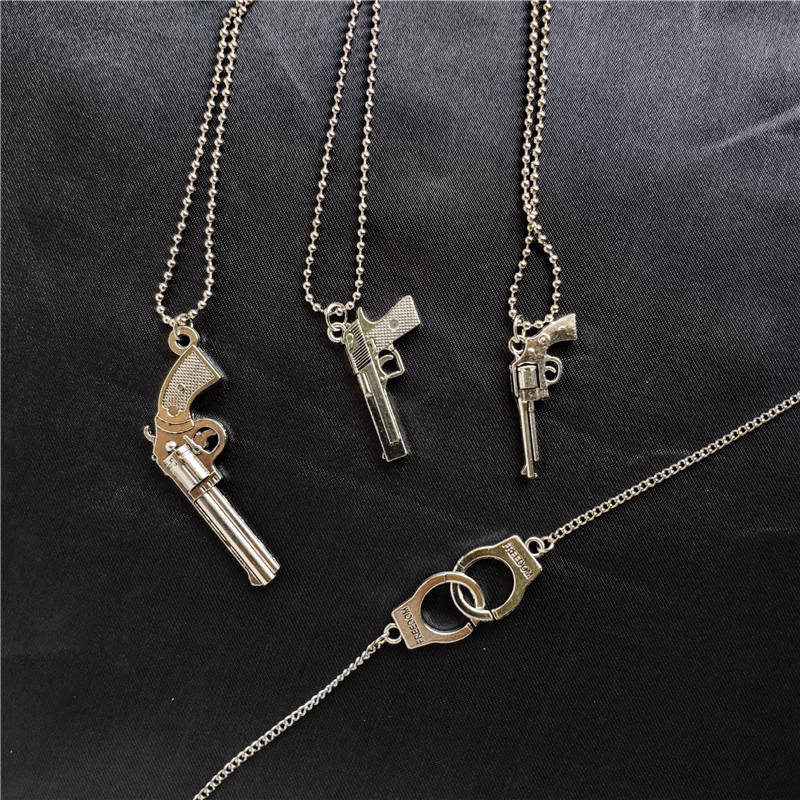 Retro Pistol Handcuffs Gun Pendant Necklace For women Punk Antique Weapon Alloy Beads Chains Jewelry Party Gifts