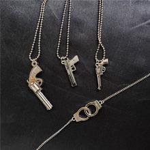 Retro pistola algemas arma pingente colar para mulher punk antigo arma liga contas correntes jóias presentes de festa