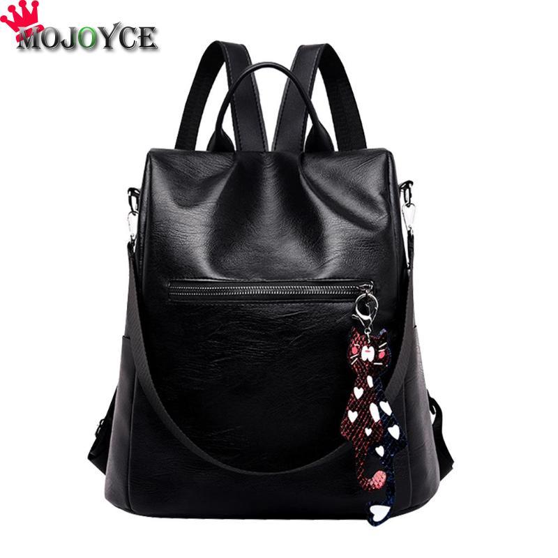 Women's Waterproof Backpack Casual Female Bag Anti-theft Bagpack Lightweight School Shoulder Bag PU Leather Black Brown