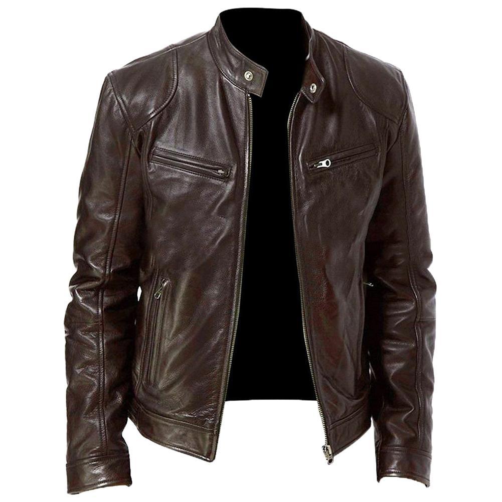 Autumn Winter  Leather Jackets Men Autumn Solid Stand Collar Fashion куртка мужская Men Jacket