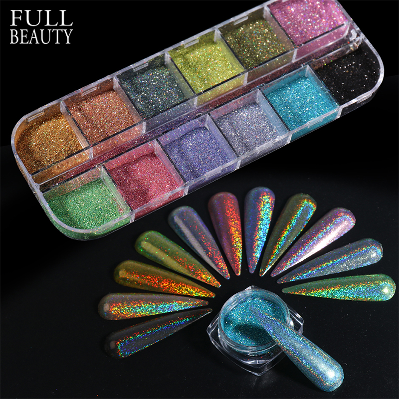 Laser Holographic Silver Blue Nails Glitter Dust DIY Summer Charm Pigment Chrome Nail Powder Flakes Art Tips Accessories CHI-360
