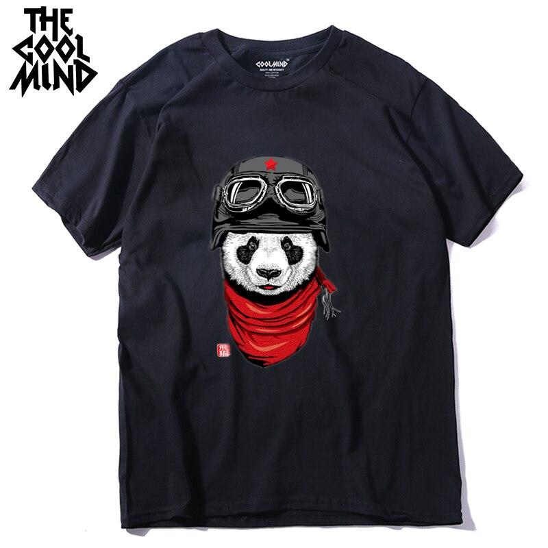 COOLMIND QI0428A 100% Cotton Short Sleeve Pilot Panda Men T Shirt Casual Coo Summer Men Tshirt Male Loose T-shirt Tees LMYX
