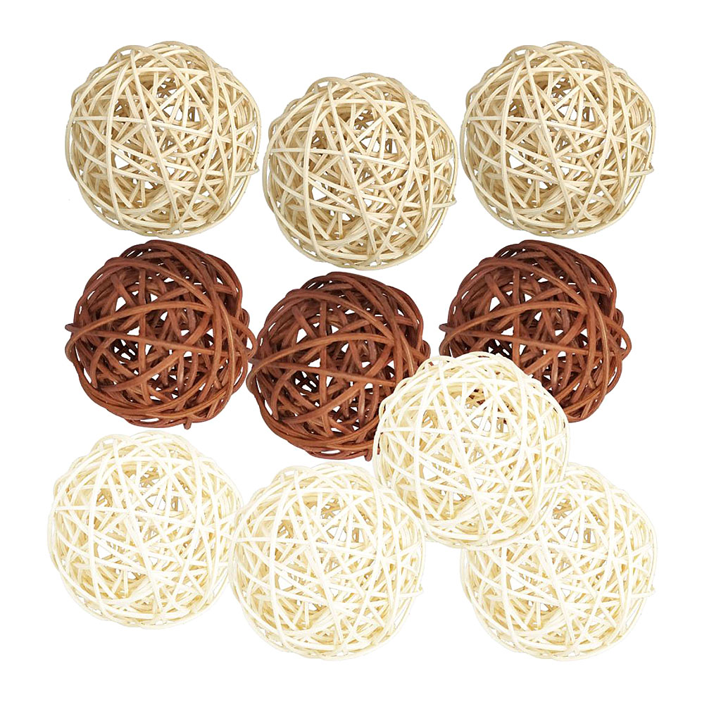 10 Pcs Mix Color Wicker Rattan Ball Party Christmas Decoration Home Wedding