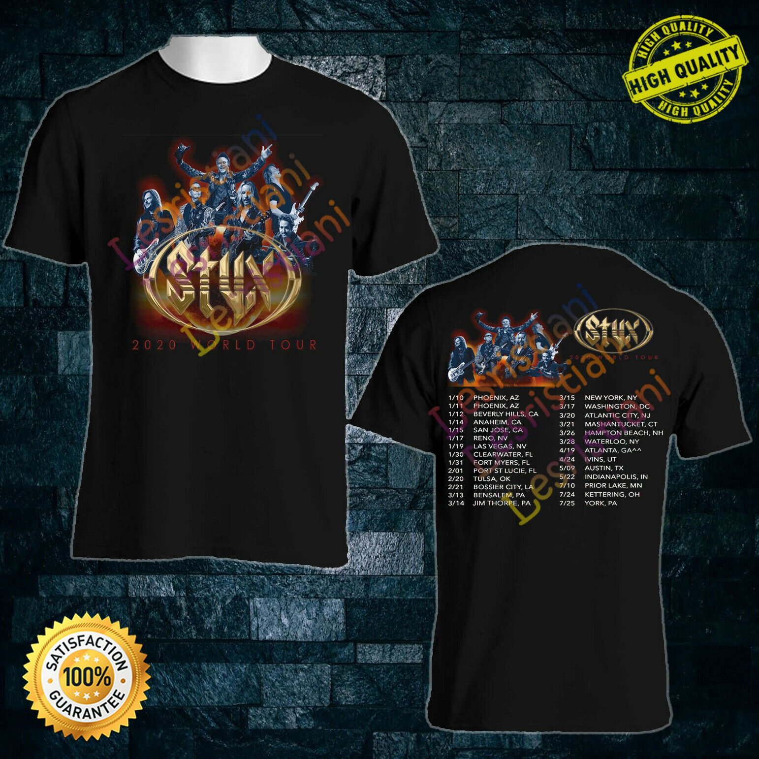 KANSAS ANTHOLOGY BLACK T SHIRT PROGRESSIVE ART HARD ROCK JOURNEY ASIA STYX