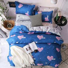 Pink Heart Duvet Cover Set Simple Bedding with Pillowcases Single Twin Queen King Size Blue Color Bed linen 3pcs