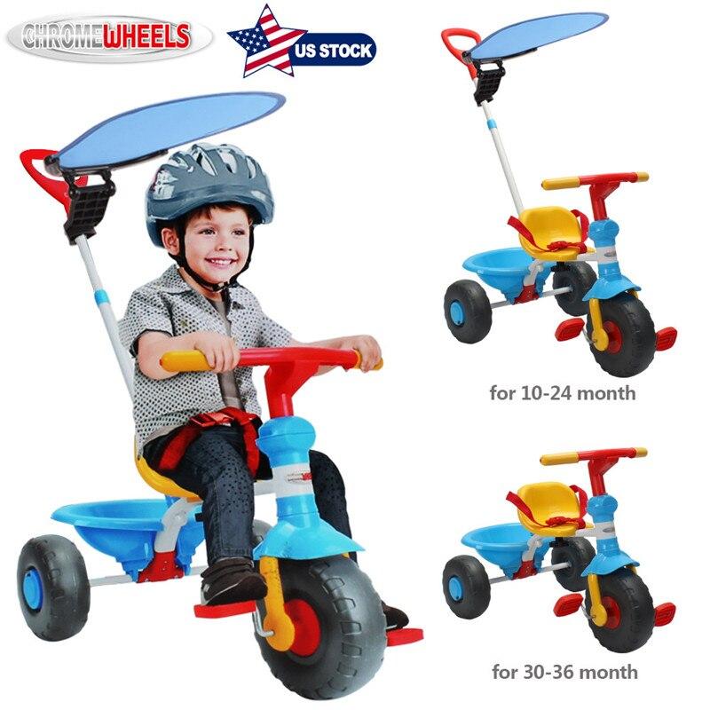 Vélo Tricycle pour enfants ChromeWheels avec poignée de poussée et grandir-avec siège Scooter pour enfants de 1 à 3 ans