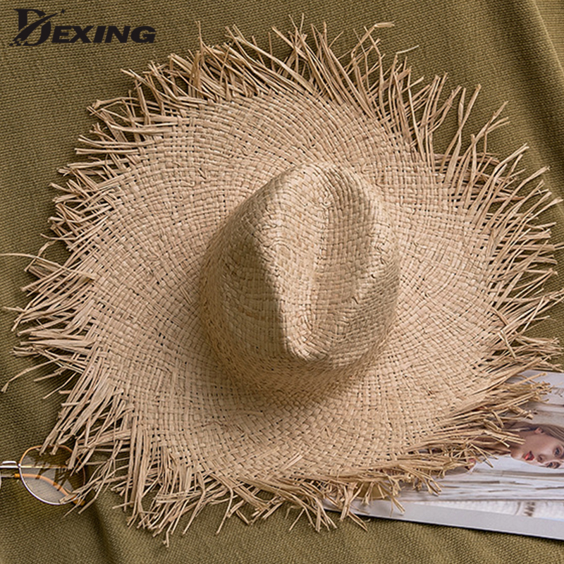 Vintage Raffia Straw Hat Summer Sun Visor Hats For Women Lady Foldable Fashion Cap Wide Brim Panama Girls Beach Hat Jazz Hats