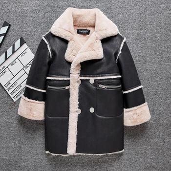 Winter children's faux fur sheep shearling fur coat Plus velvet Warm PU Leather jackets trench modis kids leather jackets Y2550