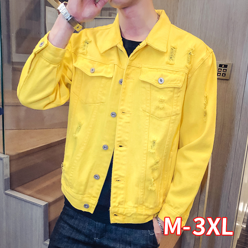 Men Casual Simple Loose Men Jacket Spring New Yellow Denim Jacket Holes Long Sleeve Hole Jeans Jacket Men Outwear