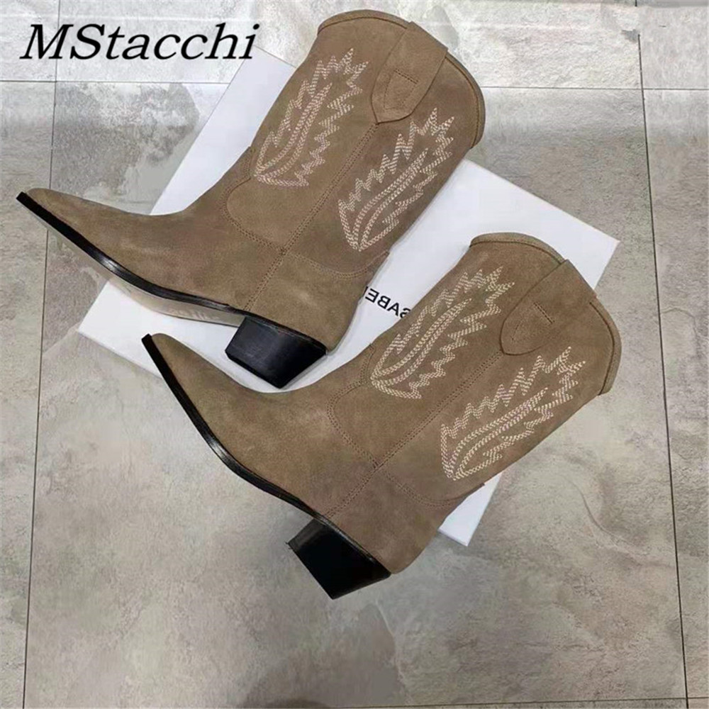 MStacchi 2020 Nude Suede Embroidered Mid-Calf Boots Women Thick Heel Pointed Toe Shoes Woman Warm Snow Boots Flats Knight Boots
