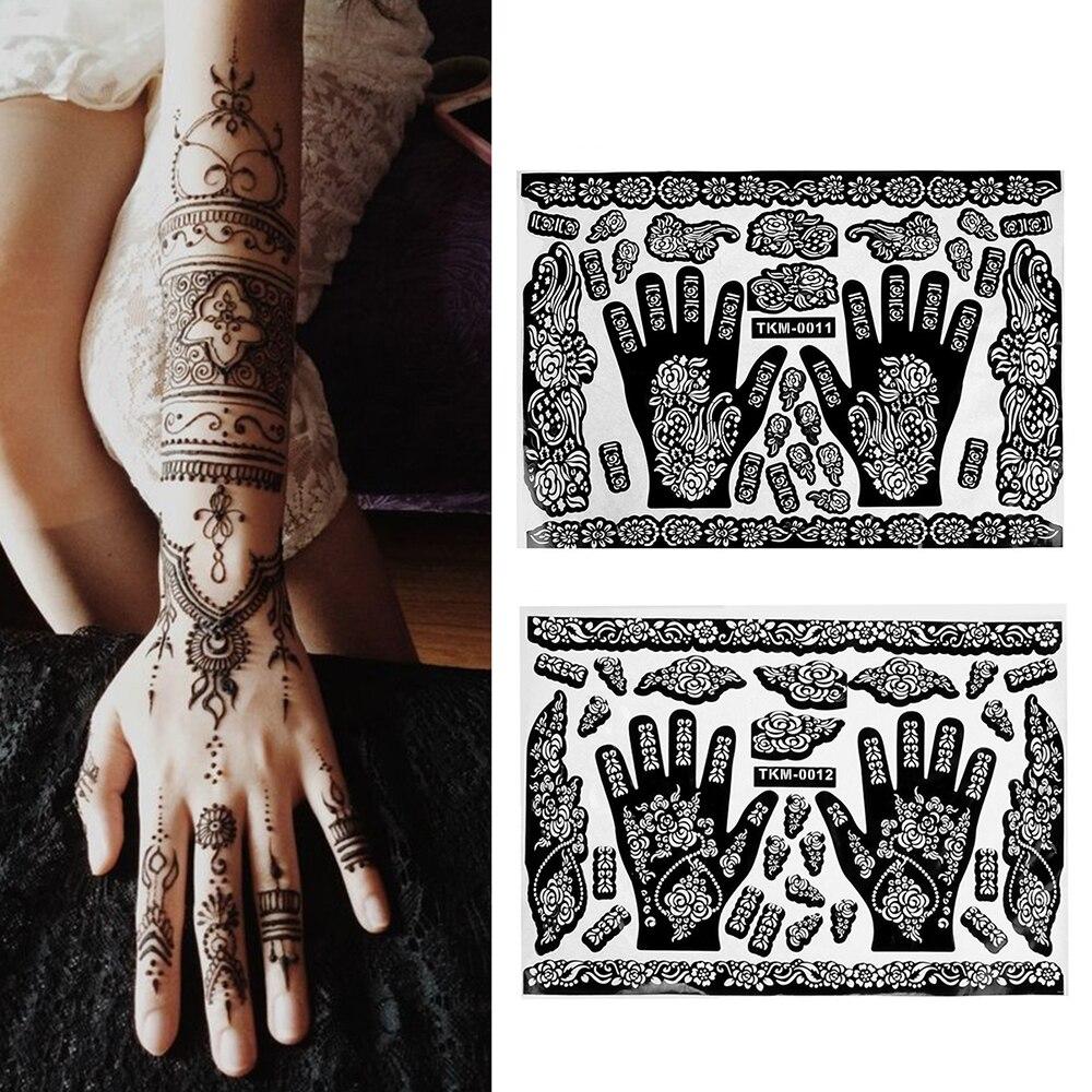 1 Pcs Hands/Feet Tattoo Henna Indian Temporary Tattoo Templates Stencils For Airbrushing Mehndi Body Painting Decor Random Style