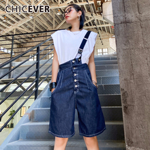 Summer Jumpsuits CHICEVER Lace-Up High-Waist Fashion Sleeveless Sling Pockets Asymmetric-Collar