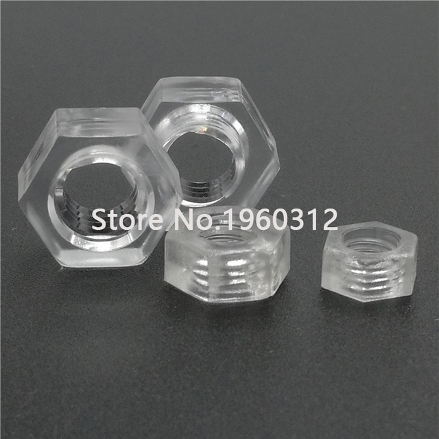 50sets with hex nut and Acrylic Clear transparent Plastic Nylon M3 M4 Round  Pan Phillips Cross  Head Screw Bolt L=6-20