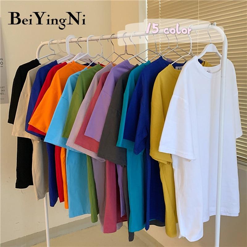 Beiyingni Plus Größe Baumwolle Frau T Shirt Einfarbig Lose Übergroßen T-shirt Weibliche Sommer Kurzarm Koreanische Top Weiße Kleidung