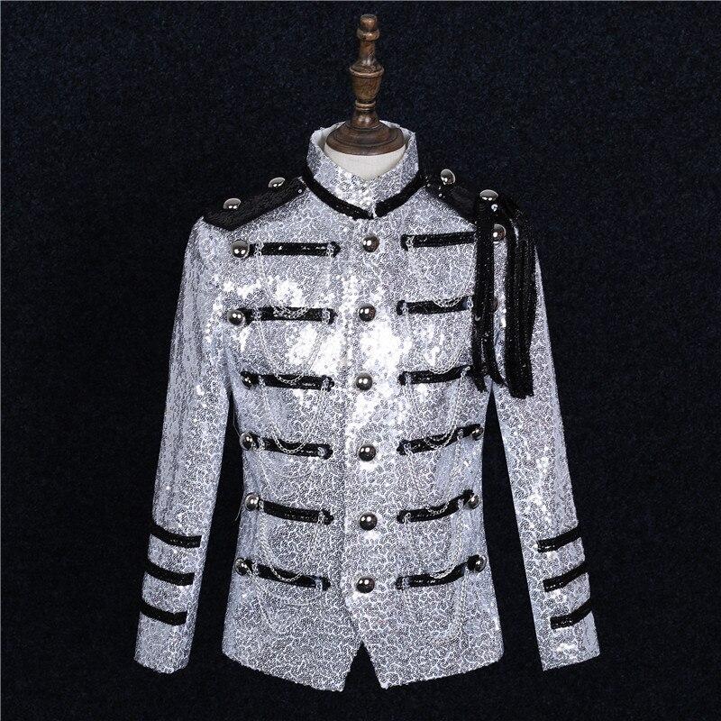 Argent militaire uniforme Sequin hommes coupe ajustée costume épaule Badge fête formelle veste hommes chanteur Chorus scène Performance Costumes