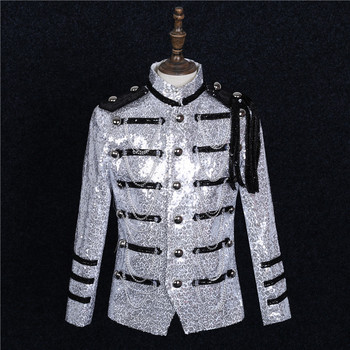 Silver Military Uniform Sequin Men Slim Fit Suit Shoulder Badge Party Formal Jacket Men Singer Chorus Stage Performance Costumes