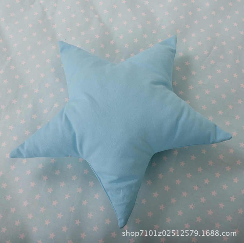 Enfants tente accessoires étoile motif oreiller bleu à cinq branches étoile coussin coton respirant peau sûre