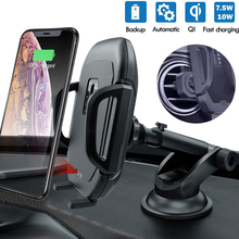 купить W5 10W Wireless Car Charger Mount Wireless Fast Charging adjustable Phone Holder for Samsung Galaxy iPhone дешево