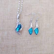 925 prata esterlina colar brincos presente, casamento conjunto de jóias femininas jóias finas áustria cristal mar azul pingente s0143