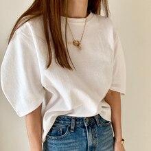 Puff Sleeve Summer T-Shirts Women Solid Korean Loose Elegant Casual Shirts O-Neck Vintage Harajuku Cotton Tops 4 Colors W686