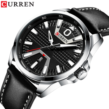 Creative Clock Watch Man Fashion Luxury Brand CURREN Leather Quartz Business Wristwatch Auto Date Relogio Masculino - discount item  50% OFF Men's Watches