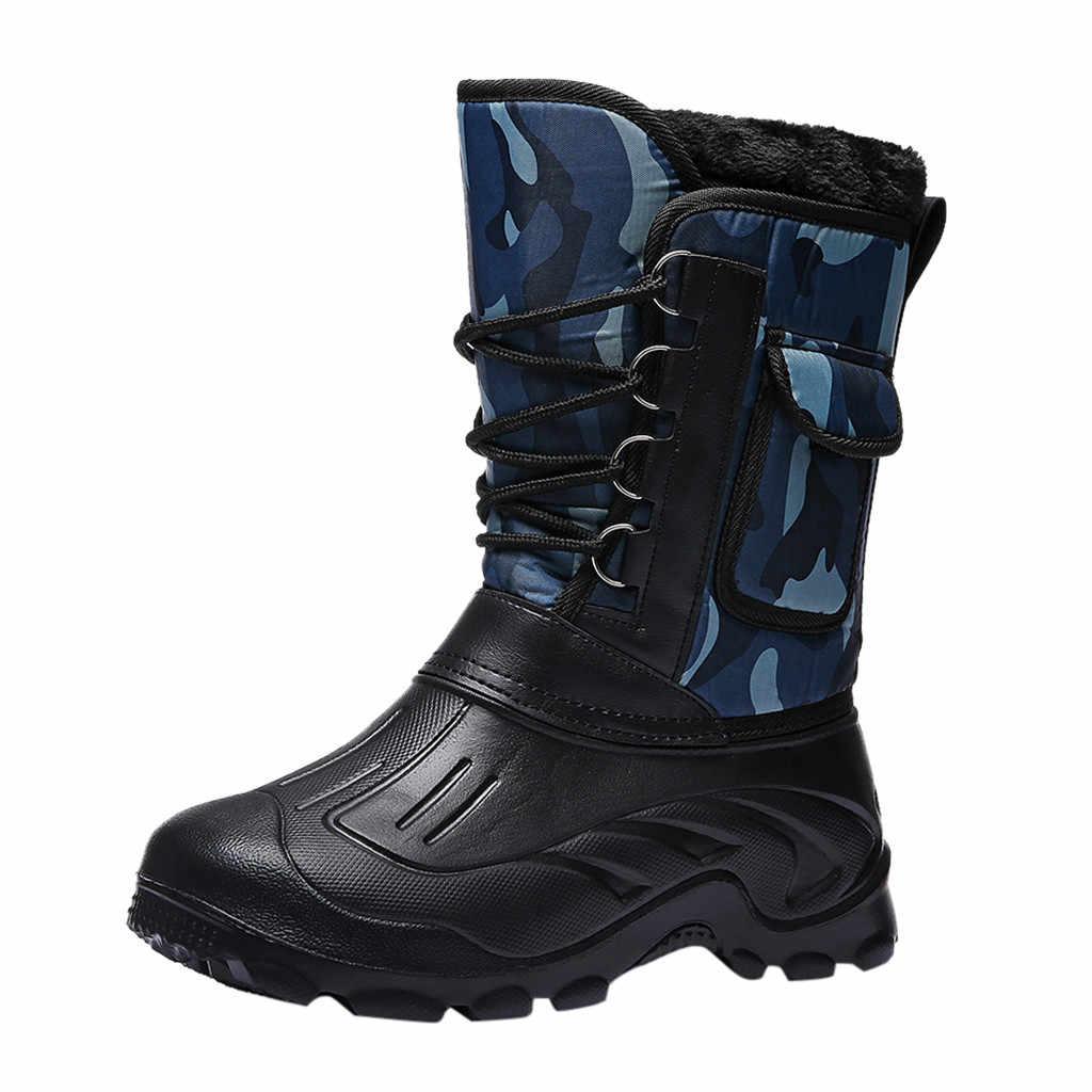 SAGACE renkli erkek açık kamuflaj artı kadife sıcak askeri botlar güvenlik anti-kesme soğuk anti-skid tüp kar botları