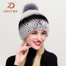 ZDFURS* 2019 Women Knitted Real Rex Rabbit Fur Beanies Hats Sliver Fox Pompoms Hat Natural Cap