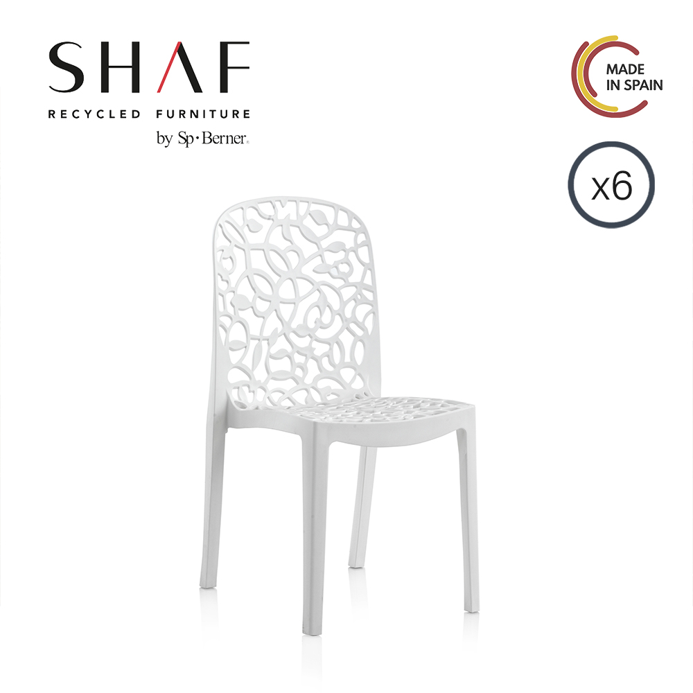 SHAF - Pack 6 Sillas Flora White, Grey or taupe, ideal for garden, terrace and External