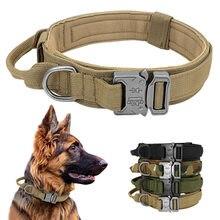 Durável coleira de cachorro tático ajustável náilon militar coleira para cães médios grandes k9 alemão pastor treinamento caça