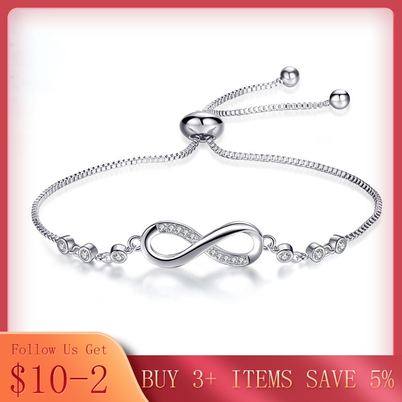 CODEDOG Authentic 925 Sterling Silver Infinity Adjustable Bracelet For Women Hot Fashion 8 Word Bracelet For Gift CMB81